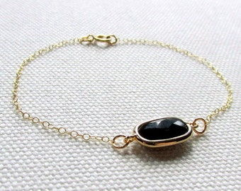Black Faceted Bracelet, Bridal Jewelry, Black Crystal Bridesmaid Wedding Gold Plate or 14k Gold Fill Chain, Dainty Modern Jewelry