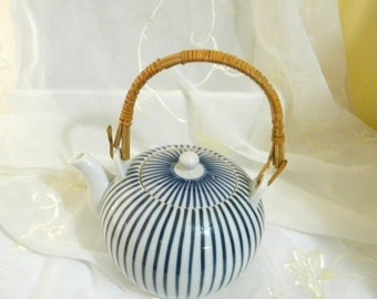 XMAS in July Sale Blue and White Striped Teapot, Rattan Handle, Porcelain, Vintage, Made in Japan, Mid Century