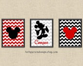 Set of 3 Mickey Mouse Red Chevron Custom Name Printable Wall Art 8x10