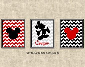 Set of 3 Mickey Mouse Red Chevron Custom Name Printable Wall Art 8x10