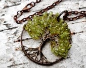 Tree of Life Pendant Peridot, Wire Wrapped Tree of Life, August Birthstone Pendant, Wire Wrapped Jewelry, Woodland Jewelry