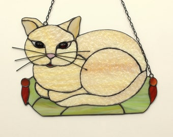 Cat lover gift. Gift for pet lover. Personalized Stained Glass Cat. Stained glass animal decorated with natural Baltic amber.