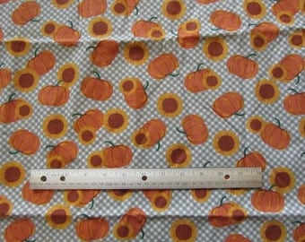 1.5 Yards Beige/Brown Plaid Fall/Harvest Pumpkin Cotton Fabric