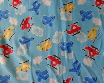 Blue Plane/Helicopter/Cloud Flannel by the Yard