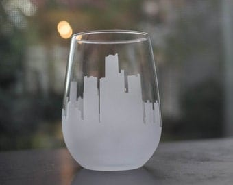 Etched Detroit, Michigan Skyline Silhouette Wine Glasses or Stemless Wine Glasses