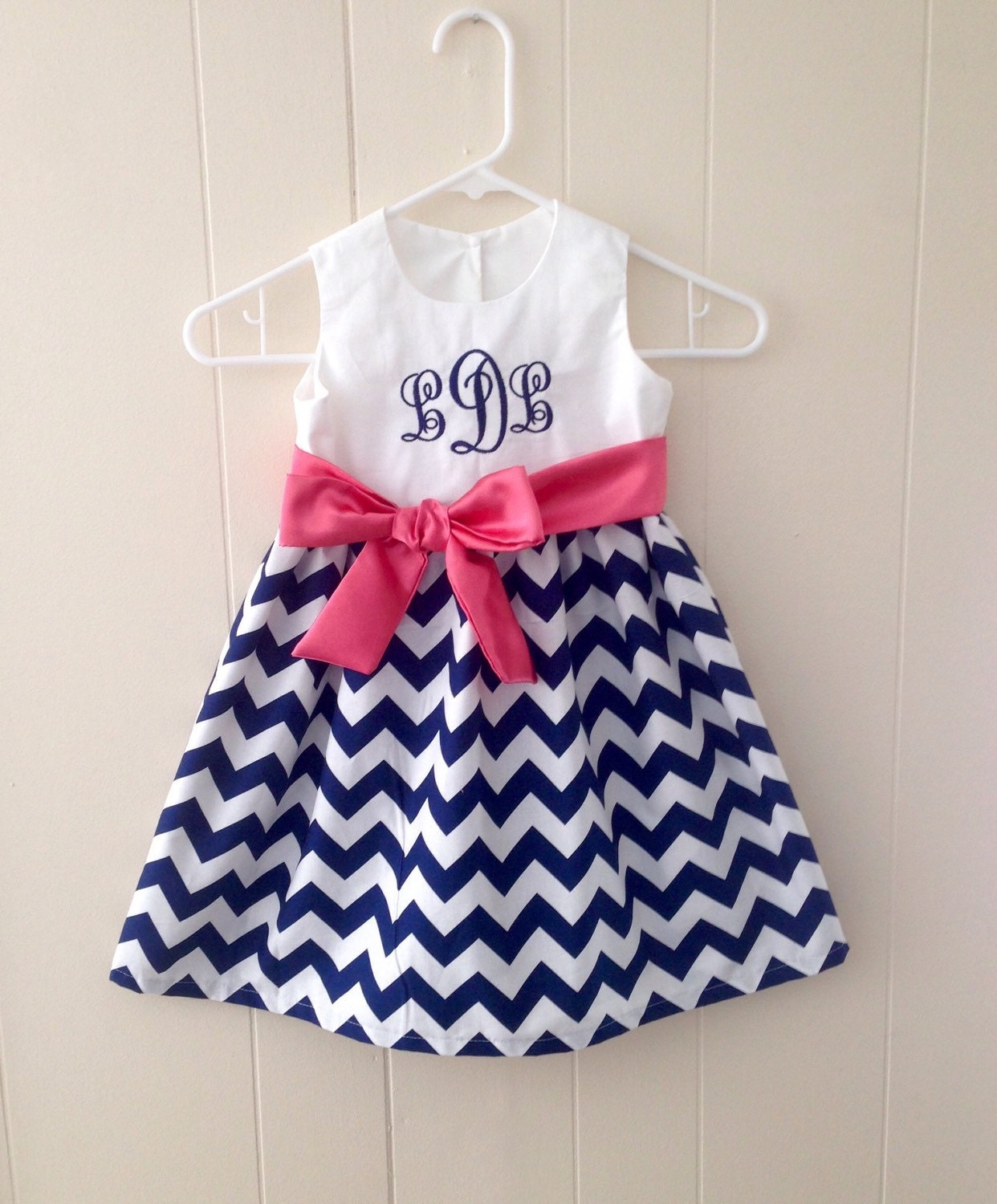 Navy and coral baby girl clothes toddler girl by SewChristi