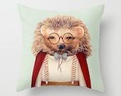 Hedgehog THROW PILLOW, Decorative Pillow, (Light Gray Green) HEDGEHOG