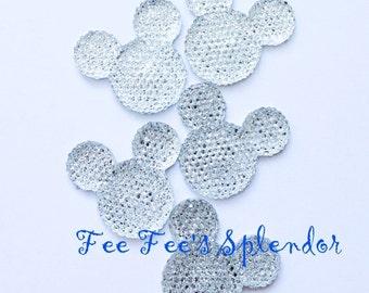 2 pc- Mickey Mouse Minnie Mouse flatback rhinestone * Diamond CLEAR *Mouse head flat back resin- Hair bow Center