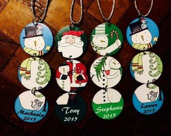 Personalized Snowmen & Santa Aluminum Christmas Ornament