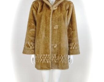 ON SALE Faux Fur Coat: vintage faux fur / hooded fur / mink faux fur / autumn haze mink faux fur coat / faux fur hooded coat / vegan faux fu