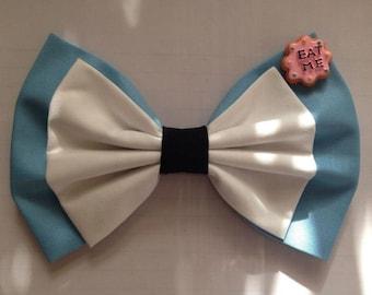 Alice in Wonderland handmade hair bow