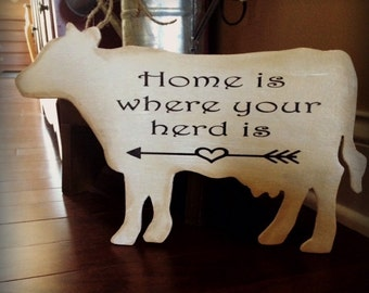 COW SIGN | Farmhouse Decor | Kitchen Decor | Home Decor | Cottage Kitchen | Rustic Home Decor | Whitewash Sign | Wood Sign
