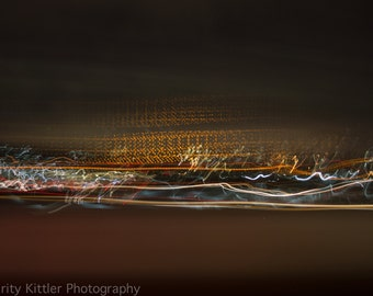 Fine Art Photography Print, Highway Twilight Night Abstract Traffic Photograph, Blurred Striped Modern Art