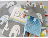 Modern Grey Elephant Baby Gift Set...Burp Cloth/Bib/Ribbon Lovey...You Choose Accent Color...Embroidery Option...No Loops...Shower Chic