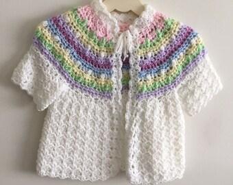 Baby girls hand crochet sweater size 1 to 2.