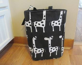 Giraffe Car Trash Bag, Black and White Trash Bag, Car Caddy