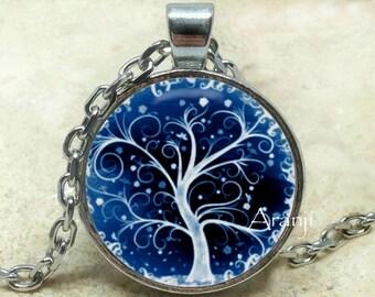 Blue curly tree pendant, winter tree necklace, blue curly tree pendant, cobalt tree necklace, Pendant #PL159P