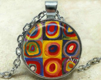 Kandinsky art pendant, Kandinsky necklace, Kandinsky pendant, abstract art pendant, art necklace, art jewelry, circles, Pendant #AR134P