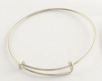 1PCS Silver Adjustable Bangle Bracelet