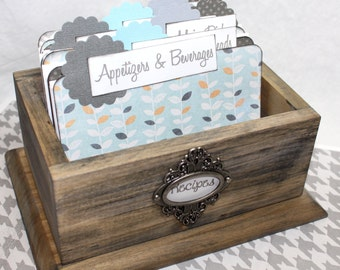 Recipe Box, Barn Wood Box, Rustic Recipe Box, Recipe Dividers, Recipe Cards, Blue and Gray Dividers