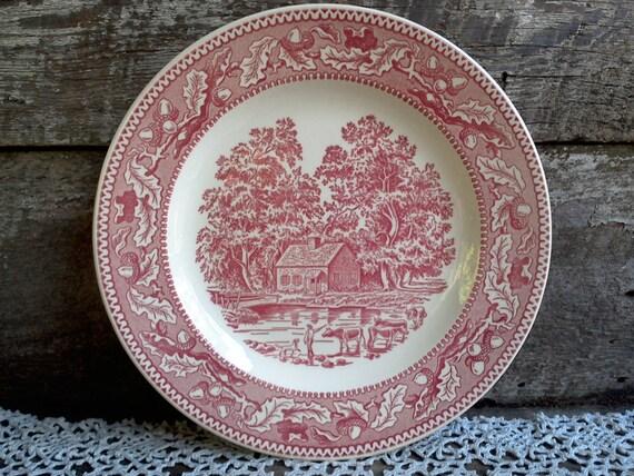"PINK/RED Transferware Dinner Plate, Memory Lane, 10"" Round, Serving, Chop Plate, USA Plate, Farm Scene, Farmhouse, Cows, Acorns"