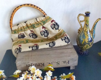 bamboo and fiber bag- vintage Portugal bag- farm motive- animal