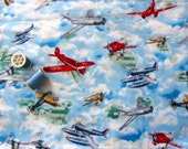 AIRPLANE Fabric - Blue Cloth with Airplanes - WWI and WWII racers and fighters, Russian swept wing plane, pontoon plane