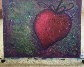 11x14 flat canvas heart painting