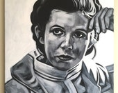 """Original, Signed Canvas Painting By James Hance - """"Leia"""" (Carrie Fisher)"""