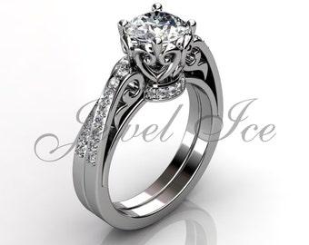 Engagement Ring Set - 14k White Gold Diamond Unique Art Deco Filigree Scroll Wedding Band Engagement Ring Set Bridal Set ER-1094-1