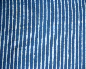Cotton Stripes Fabric Indigo Fabric Natural Dye Mud Cloth Shibori Fabric by Yard