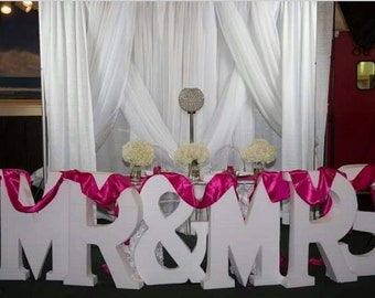 Large Letters-Glitter Free standing letter-Mr and Mrs-Wedding sign-Weddings-Glitter letter-Table decoration-Sweetheart table-Sign-Decoration