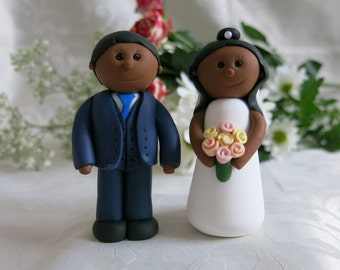 Bride & Groom Fimo Wedding Cake Toppers Handmade to Order and Personalised