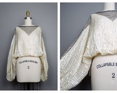 Iridescent Sheer Sequin Dolman Blouse / Oversized Batwing Sequined Cropped Top