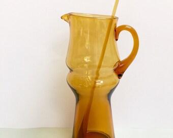 Amber glass pitcher/jug and stirrer