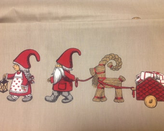 Christmas tablecloth beige red white Christmas Elfs Tomte Gifts Scandinavian ,napkins , runner , curtains , pillows available, great GIFT