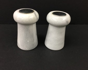 "Vintage White Marble Salt and Pepper Shakers Column Style 3.5"" Tall"