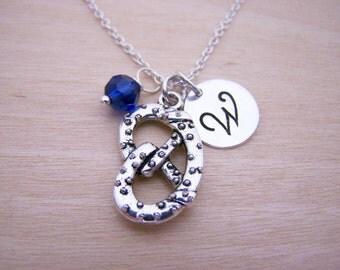 Pretzel Charm Swarovski Birthstone Initial Personalized Sterling Silver Necklace / Gift for Her - Pretzel Necklace