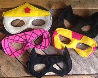 Lady Super Hero Masks // Girl super hero mask set // Super hero party favor // Child or adult sized felt mask set // Felt Masks