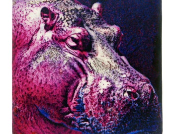 """Pink Hippo 4"""" Coaster and Art Tile"""