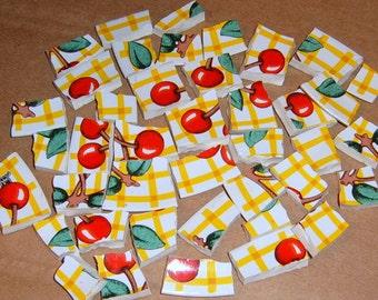 Broken china, mosaic supplies, Cherries, Cherry China, handcut, mosaic tiles,