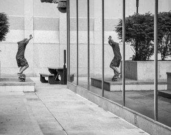 Skateboard Reflection, Skateboard Photography Print, Black and White, EyeWasHere