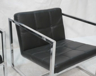 Vintage Mid Century Pair of Leather and Chrome Chairs