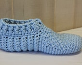 Light Blue Thick Crochet Slippers, Women's House Shoes, Washable Indoor Socks, Chunky Adult Crochet Booties, Bed Socks, Men's Vegan Slippers