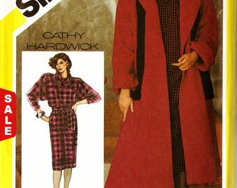Clearance Sale - Simplicity 6572 Retro 1980s Swing Back Coat, Pullover Dress and Tie Belt Sewing Pattern Sz 14