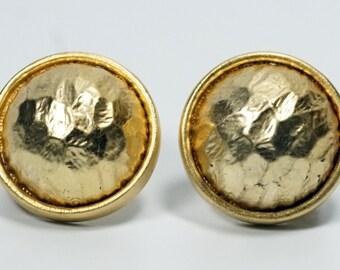 Les Bernard, Les Bernard Earrings, Gold Button Earrings, Vintage Les Bernard Hammered Gold Tone Round Button Clip On Earrings