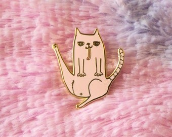 Pink Cat Butt Hard Enamel Pin - Gold Plated - 1.25in