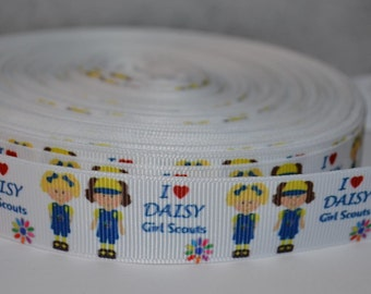 """Daisies Inspired 7/8"""" Grosgrain Ribbon for Hair Bows, Kids Crafts, Scrapbooks, Cards Making, Gift Wrapping"""