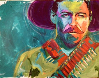 Pancho Villa Portrait Giclee Canvas Mexican Celebrity Print Wall Art Colorful Abstract Pop Art
