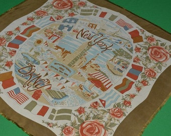 Vintage DKNY New York International Festival New York Silk Scarf 1993
